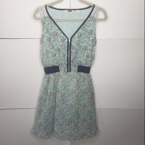 Miss Me Sleeveless Zippered Floral Dress Small